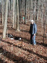 Tom Dierauf and Jean Kolb laying out transect